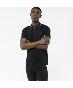 Paul Smith | Mens Slim-Fit Ps Logo Polo Shirt With Teal Tipping