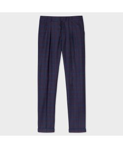 Paul Smith | Navy And Check Wool-Silk Tapered Trousers