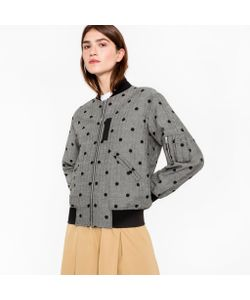 Paul Smith | Herringbone Bomber Jacket With Flocked Polka Dots
