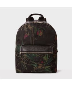Paul Smith | Calf Leather And Nylon-Blend Cockatoo Print Backpack