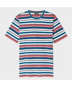 Paul Smith | Coral Petrol And Stripe T-Shirt
