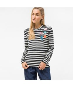 Paul Smith | Striped Sweater With Embroidered Patches