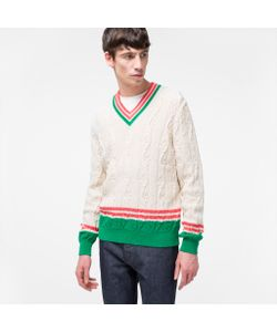 Paul Smith | Cable-Knit Stripe-Trim V-Neck Sweater