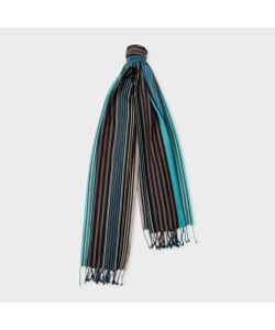 Paul Smith | Mens Multi-Coloured Stripe Silk-Blend Scarf