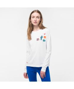 Paul Smith   Womens Long-Sleeve T-Shirt With Appliqué Patches
