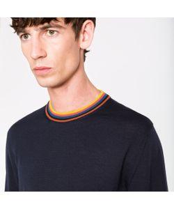 Paul Smith   Merino-Wool Sweater With Artist Stripe Collar And Cuffs