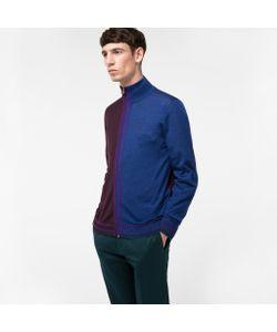 Paul Smith | Mens And Indigo Merino-Silk Blend Zip-Through Top