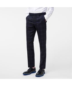 Paul Smith | Mens Slim-Fit Two-Tone Windowpane-Check Wool Trousers