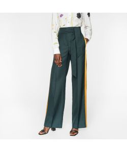 Paul Smith | Parallel Leg Trousers With Silk Stripes