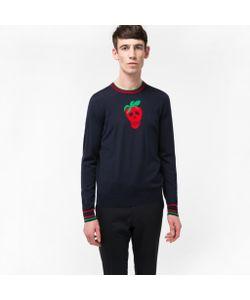 Paul Smith   Mens Merino Wool Strawberry Skull Intarsia Sweater