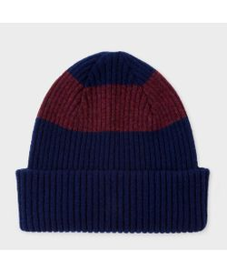 Paul Smith | Ribbed Beanie Hat With Plum Stripe