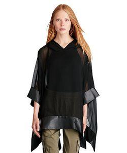 Ralph Lauren   Leather-Trim Silk Poncho