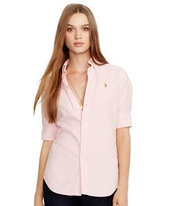 Ralph Lauren | Slim Cropped-Sleeve Oxford