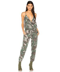 Pam & Gela | Camo Strappy Jumpsuit