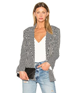 Norma Kamali | Vertical Stripe Double Breasted Jacket
