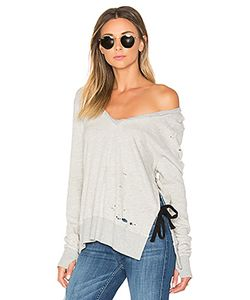 Pam & Gela   V-Neck Side Slit Sweatshirt