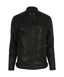 River Island | Mens Leather Look Racer Jacket