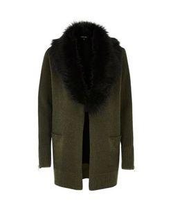 River Island | Knit Contrast Faux Fur Collar Cardigan