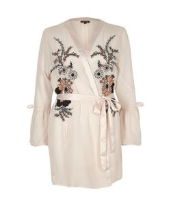River Island | Embroidered Frill Sleeve Robe