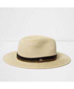 River Island | Straw Braided Trim Fedora Hat