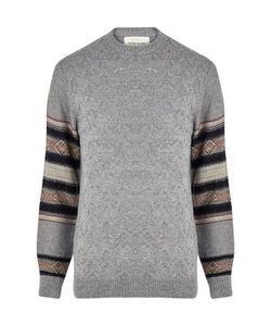 River Island | Textured Knit Contrast Sleeve Sweater