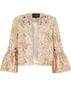 River Island | Brocade Gem Embellished Trophy Jacket