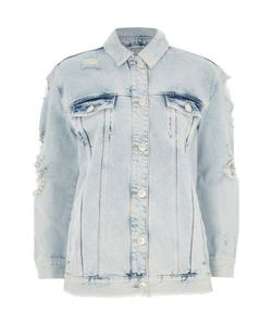 River Island | Mid Distressed Pearl Denim Jacket