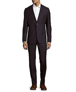 Versace Collection | Modern Fit Solid Wool-Blend Suit