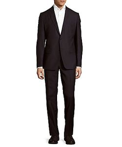 Versace Collection | Classic Fit Solid Wool-Blend Suit