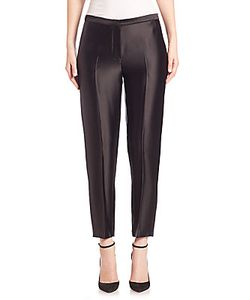 Rosetta Getty | Cropped Tapered Crepe Back Satin Pants