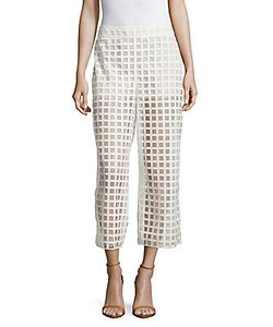 Akris | Caro Grid Embroidered Cropped Pants
