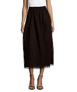 Carven | Solid Grommet-Cutout Skirt