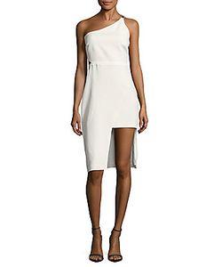 Halston   Zip One-Shoulder Dress
