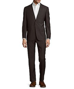 Armani Collezioni | Regular Fit Textured Wool Suit