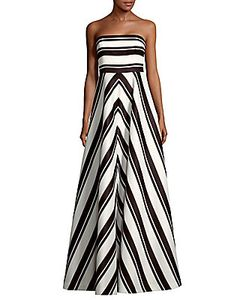 Halston Heritage | Striped Floor-Length Dress