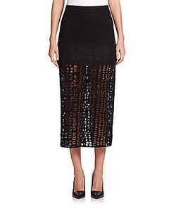 Jason Wu | Wool Flannel Lace A-Line Skirt