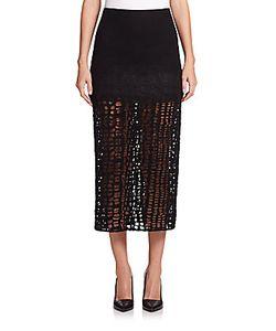 Jason Wu | Wool Flannel Lace A-Line Skirt