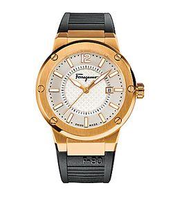 Salvatore Ferragamo   F-80 Rose Goldtone Stainless Steel Rubber Strap Watch