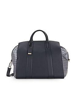 Brioni   Plaid-Trim Leather Duffel Bag