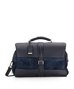 Brioni   Leather Printed Suede Duffel Bag