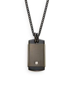 Saks Fifth Avenue | 0.01 Tcw Diamond Stainless Steel Pendant Necklace