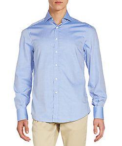 Brunello Cucinelli   Tonal Pattern Cotton Sportshirt