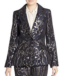 Oscar de la Renta | Metallic Printed Suit Jkt