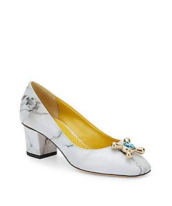 Charlotte Olympia | Oprah Marble-Print Leather Pumps