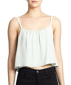 Alice + Olivia | Lucy Cropped Silk Trapeze Tank