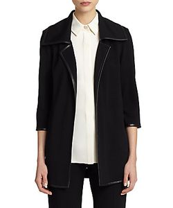 St. John | Milano Leather-Trim Open-Front Jacket