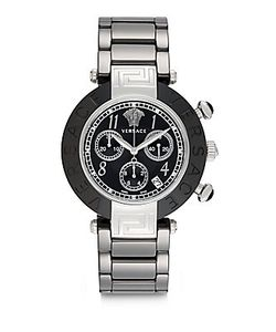 Versace | Stainless Steel Ceramic Link Chronograph Bracelet Watch