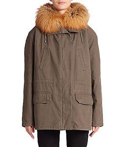 Army Yves Salomon | Cotton Fur-Trimmed Short Parka