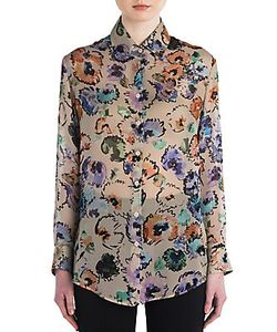Giorgio Armani   Printed Silk Button Up Blouse