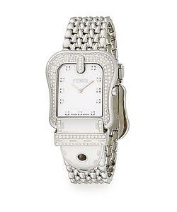 Fendi   B. Diamond Mother-Of-Pearl Stainless Steel Watch